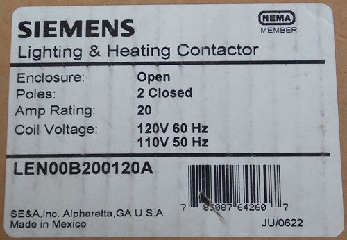 NEW Siemens LEN00B200120A 20A 2 Pole Lighting Contactor 120V Open
