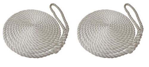 2 x 8 MTS OF 14MM WHITE SOFTLINE MOORING ROPES / WARPS / LINES BOATS