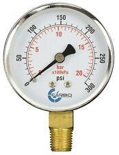 2 12 Pressure Gauge Chrome Plated Steel Case 14npt Lower Mnt 300 Psi