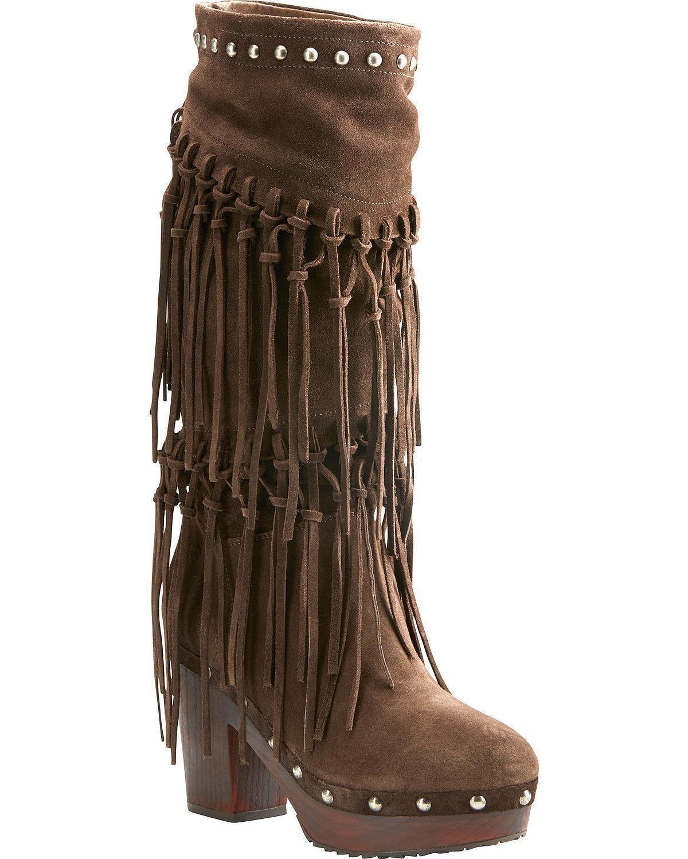 Ariat Women's Women's Women's Music Row Dark Suede Fringe Boot - Round Toe - 10021648 eaccbb