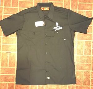 New custom dickies navy embroidered chevrolet sexy lady for Embroidered dickies work shirts