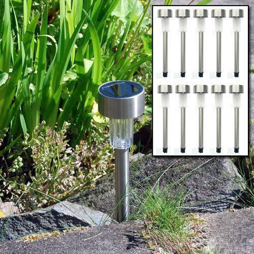 10x Solaire Alimenté LED En Acier Inoxydable Feux Post Jardin Décoration Lumière Foudre