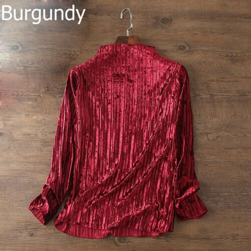 Lady Velvet T-shirt Blouse Tops Half Turtle Neck Solid Pleated Glossy Casual New