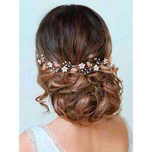 Wedding-Headpiece-Rose-Gold-Bride-Flower-Hair-Vine-Pearl-Bridal-Crystal-Headband