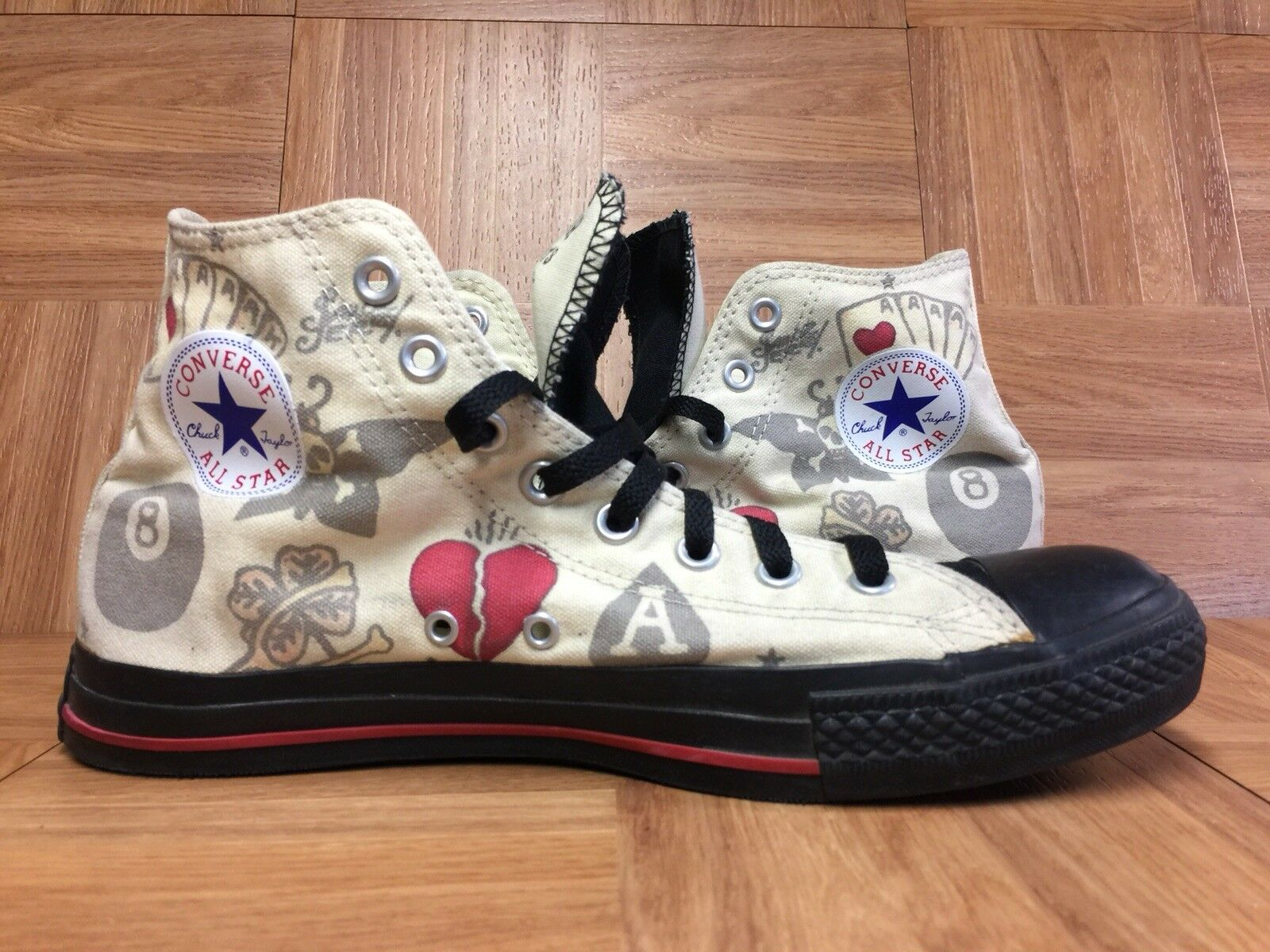RARE Converse Chuck Taylor Taylor Taylor All Star Sailor Jerry Tattoo Pattern 8Ball Heart 10 ea20ef