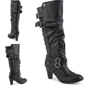 Slouchy Chunky heel Knee High Riding Boot Pumps Stiletto Platform High Heel B15