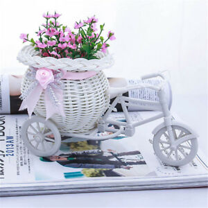 Excellent-White-Tricycle-Bike-Flower-Basket-Container-For-Flower-Plant-Decor-S