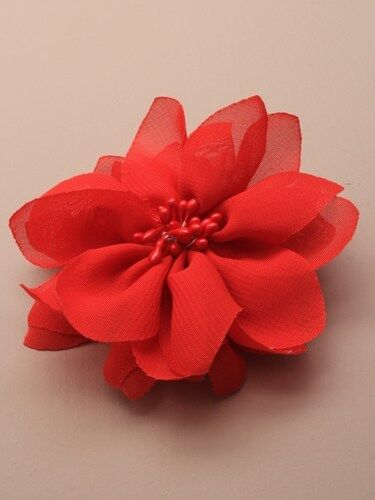 BRIGHT COLOURED CHIFFON FABRIC FLOWER ON FORKED BEAK CLIP