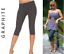 KNEE LENGTH ¾ GRAPHITE Womens Leggings Run Gym Fitness Trousers Leggins