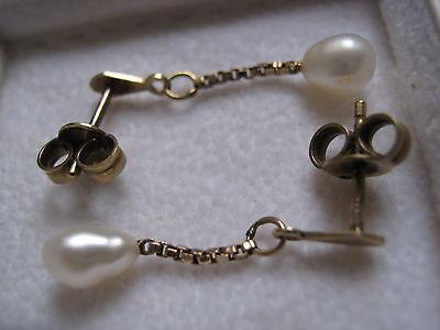1 Paar Gold 333 Ohrgehänge mit Perlen - 8 Karat Gelbgold