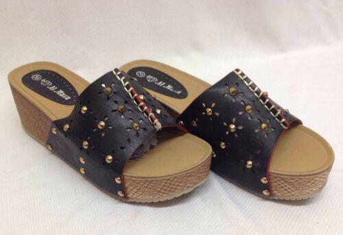"""Women Ladies Black 3/"""" High Heel Wedge Peep Toe Beach Shoes Slip On Sandals Size"""