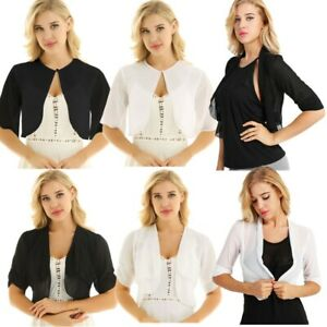 Summer-Women-Chiffon-Jacket-Shrug-Bolero-Crop-Top-Shirts-Sheer-Cardigan-Outwear