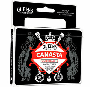 Queen-039-s-Slipper-Canasta-Playing-Cards-Double-Deck-2-Decks-Casino-Plastic-Coated