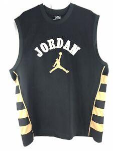 best cheap eb052 cab19 Details about Michael Jordan Basketball Jersey 23 Men's 2XL XXL Black Gold  Thick Air Jorda