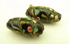pair lovely raised floral fancy Venetian glass tribal trade beads Africa AC-0119