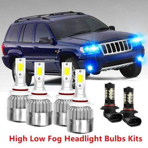 6pc 8000K LED Headlight Bulb Hi//Lo Beam Fog Lights For Jeep Grand Cherokee 99-04