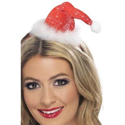 Women's Mini Babbo Natale Cappello In Testa Head Band & Pom Pom Natale Costume Festa Divertente-mostra Il Titolo Originale Può Essere Ripetutamente Ripetuto.
