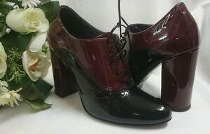 Plateau Gr Schwarz Damen 38 Leder Neu In Made Italy Schuhe High Heels Lack JFK1Tcl