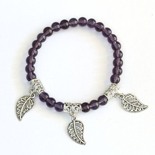 Round Crystal Beads Silver Tone Leaf Charms Bracelet