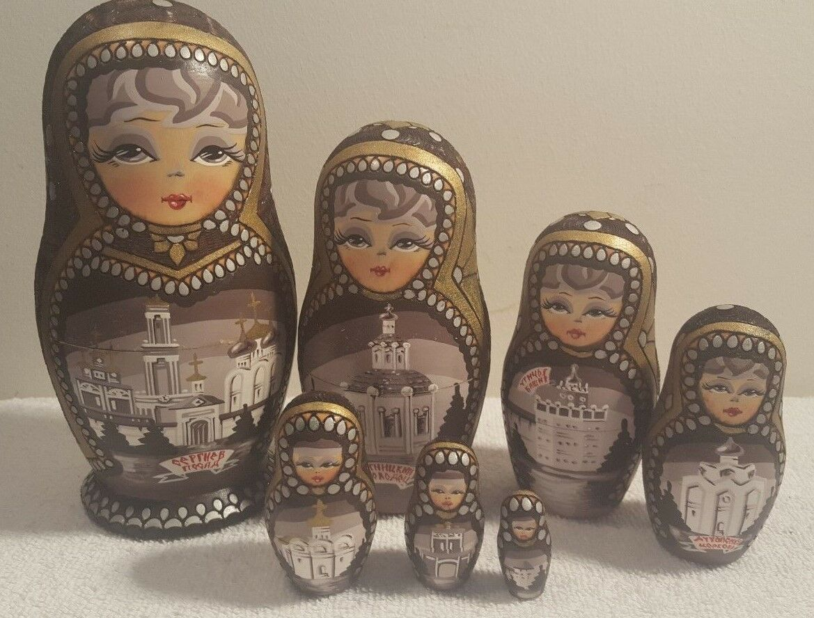 7 Pcs Russian Hand Painted & Carved Wood Nesting Doll Magnificent Matryoshka