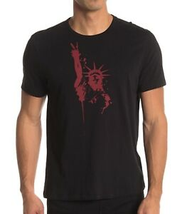 John-Varvatos-Star-USA-Men-039-s-Statue-of-Liberty-Peace-Sign-Graphic-T-Shirt-Black