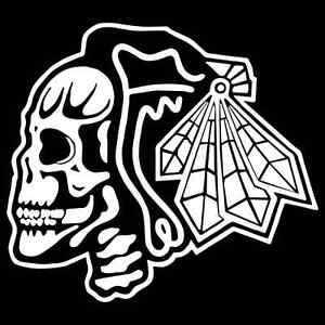 innovative design d5b9a 757e9 Details about Chicago Blackhawks Skull Vinyl Decal / Sticker 2(TWO) Pack