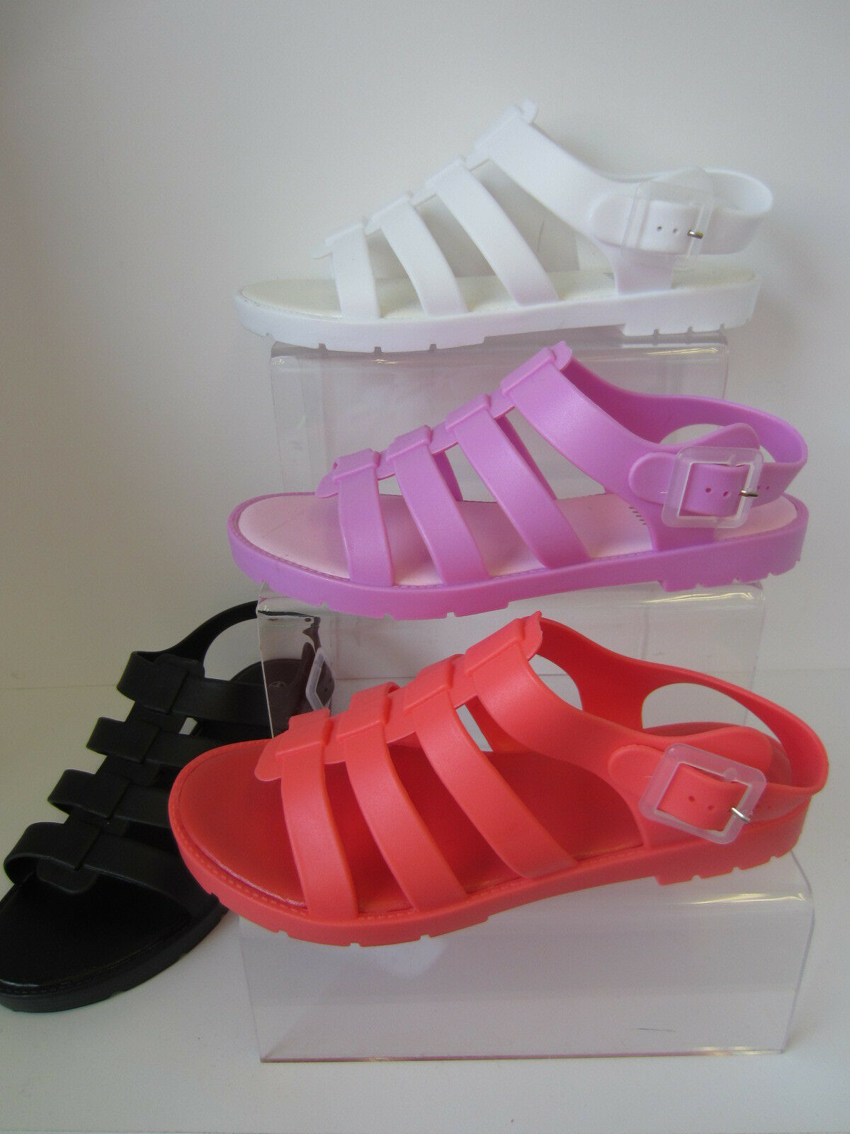 Ladies Pink/Coral/Black/White Spot On On Spot Sandals UK Sizes 3 - 8 F0837 9123e9