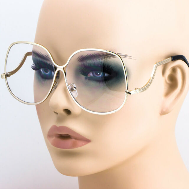 4b3d0b5ae96 FREE BAG 80 S Retro Oversized Oval GOLD Frame Round Women Clear Lens EYE  GLASSES