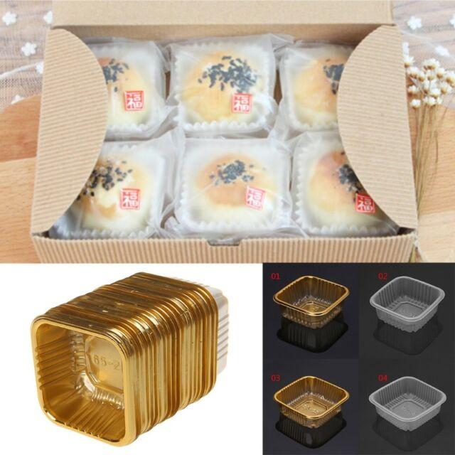 50pcs 100g Mini Square Moon Cake Tray Mooncake Package Box,Wedding Party Favor Boxes,DIY Baking Tool Mid-autumn Festival