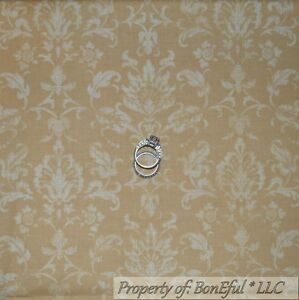 BonEful-Fabric-FQ-Cotton-Quilt-VTG-Brown-Natural-Cream-Light-Damask-Calico-Toile