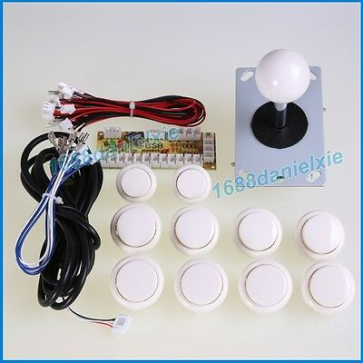 Arcade DIY Kit Parts USB Encoder To PC + 1 Joystick + 10x Buttons For MAME White