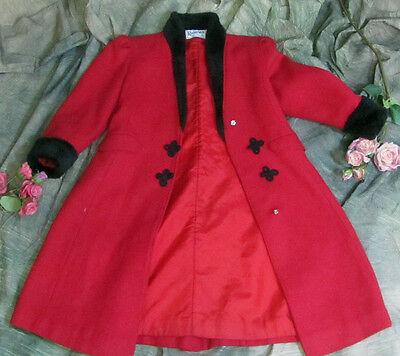 Inventivo Vintage Rothschild Classic Rosso Lana Child's Ragazza Cappotto Giacca Collo In Valore Eccezionale