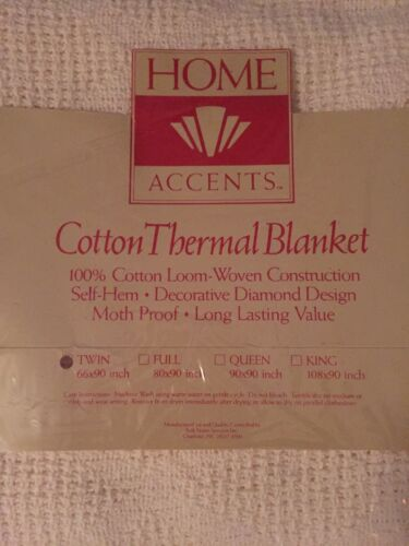 Home Accents Cotton Thermal Blanket MADE IN THE USA TWIN SIZE 76 X 90 NEW