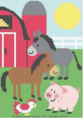 BARNYARD FARM ANIMALS-(donkey,horse,pig,chicken) SCRAP YARN Graph Afghan Pattern