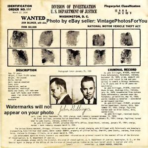 '34 Bank Robber John Dillinger Depression Gangster FBI Most Wanted Poster Photo