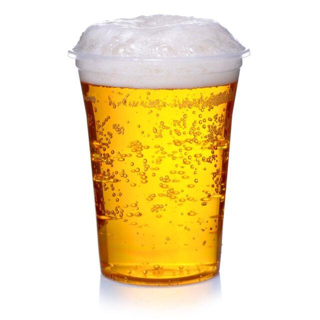 200 Bierbecher 0,4 l klar Schaumrand Trinkbecher Plastik Ausschankbecher 400 ml