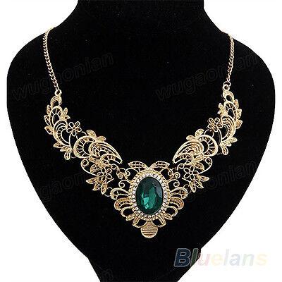 New Women Gold Plated Crystal Hollow Out Flower Pattern Choker Bib Necklace B8BU