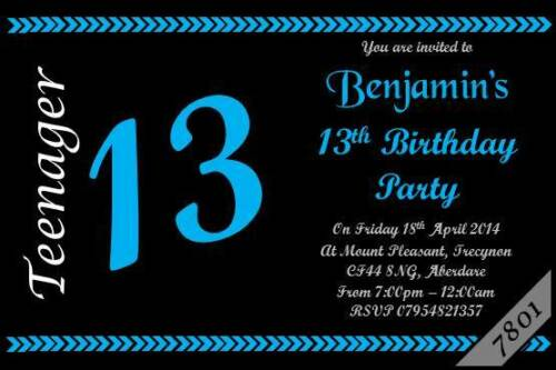 10 X Personnalisé adolescent 13e boys /& girls Fête D/'Anniversaire Invitation Invitations