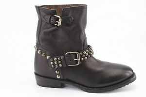 $295 NEW Ash Vicious Black Leather Studded Motorcycle Boots 37 / 7 Biker Booties