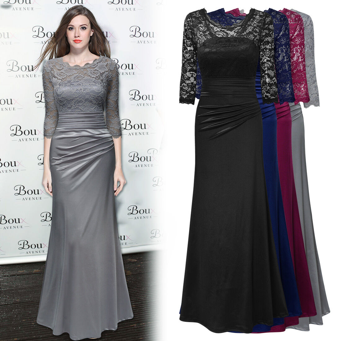 Womens Long Prom Lace Formal Evening Cocktail Party