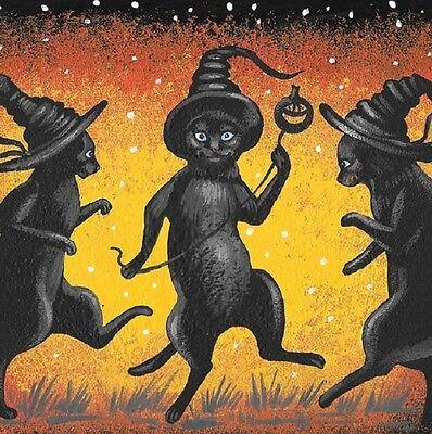 8x10 print of PAINTING HALLOWEEN RYTA WITCH MINI PIG BLACK CAT VINTAGE STYLE Bat