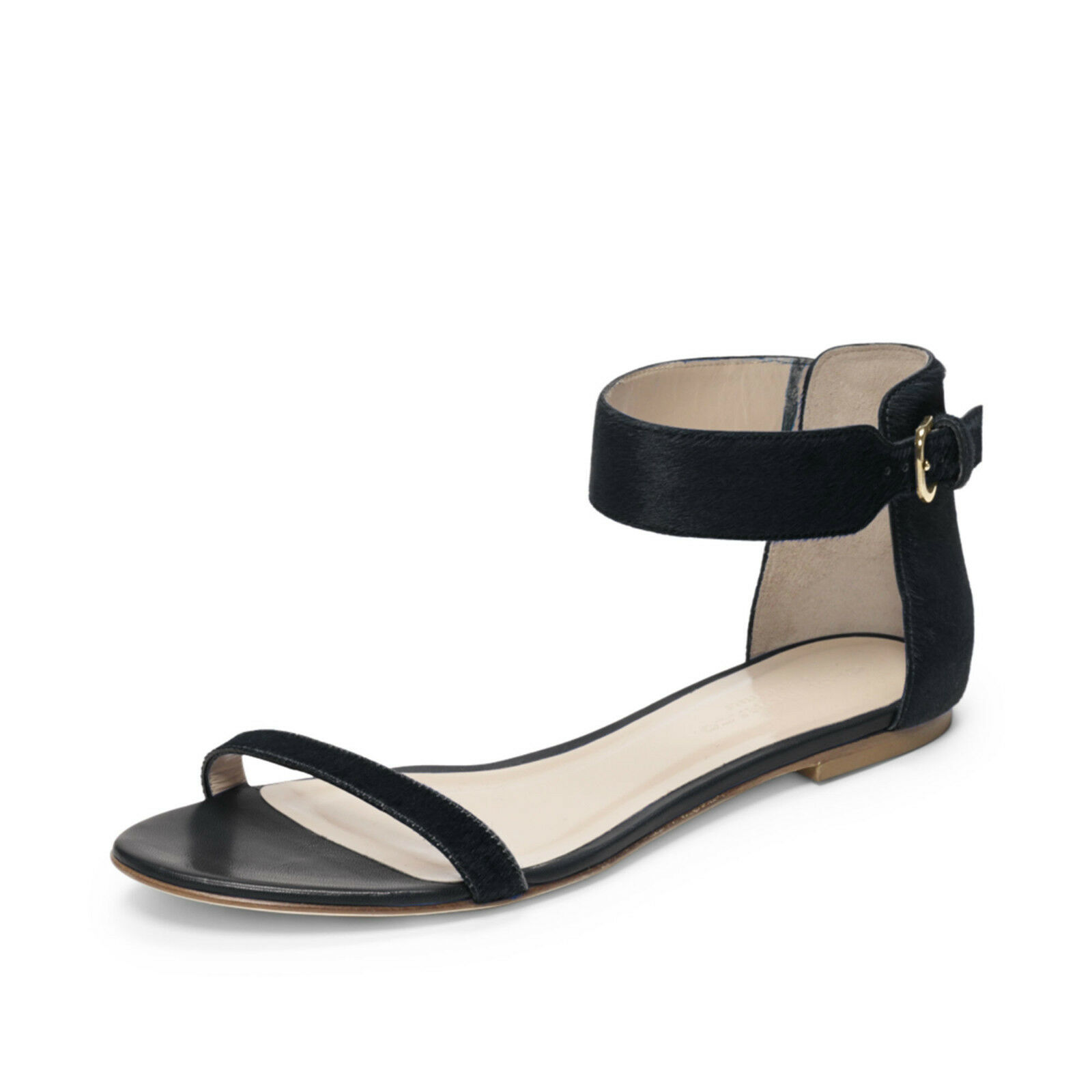 $229 New Club Monaco Black Hayley Pony SKINS Flats Ankle Ankle Flats Strap Sandals Shoes 39 859813