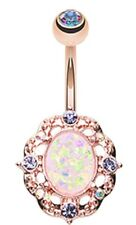 Belly Button Ring Navel Rose Gold Florid Opal Sparkle  14g