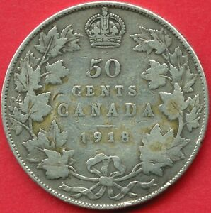 1918-Canada-Silver-50-Cent-Piece-11-66-Grams-925-Silver