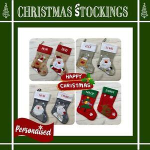 PERSONALISED CHRISTMAS SANTA STOCK. EMBROIDERED NAME. GIFT SACK, STOCKING, XMAS