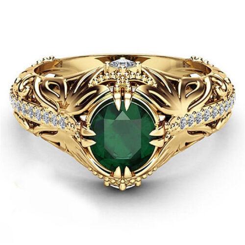 Diamantes de imitación de cristal de compromiso de mujer anillo nupcial Joyas Vintage 6A