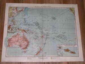 1905 LARGE MAP AUSTRALIA OCEANIA PACIFIC GUAM GERMAN SAMOA BISMARCK