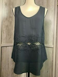 Women-039-s-Fun-2-Fun-NWT-Stitch-Fix-Black-Floral-Cross-Back-Sleeveless-Top-Large