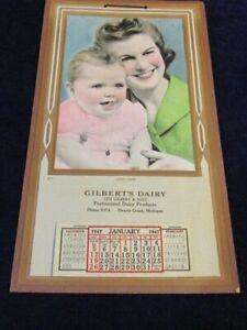 Vtg 1947 Calendar Gilbert's Dairy Swartz Creek MI Complete Baby with Mother S93