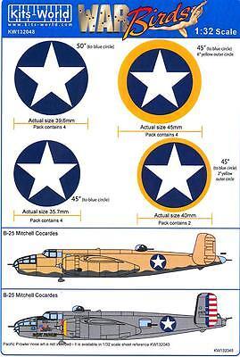 Kits World Decals 1/32 B-25J MITCHELL Bomber NATIONAL MARKINGS